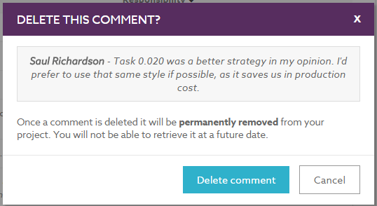 Delete comment confirmation