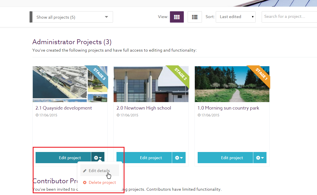 Edit Project Details From Tile View