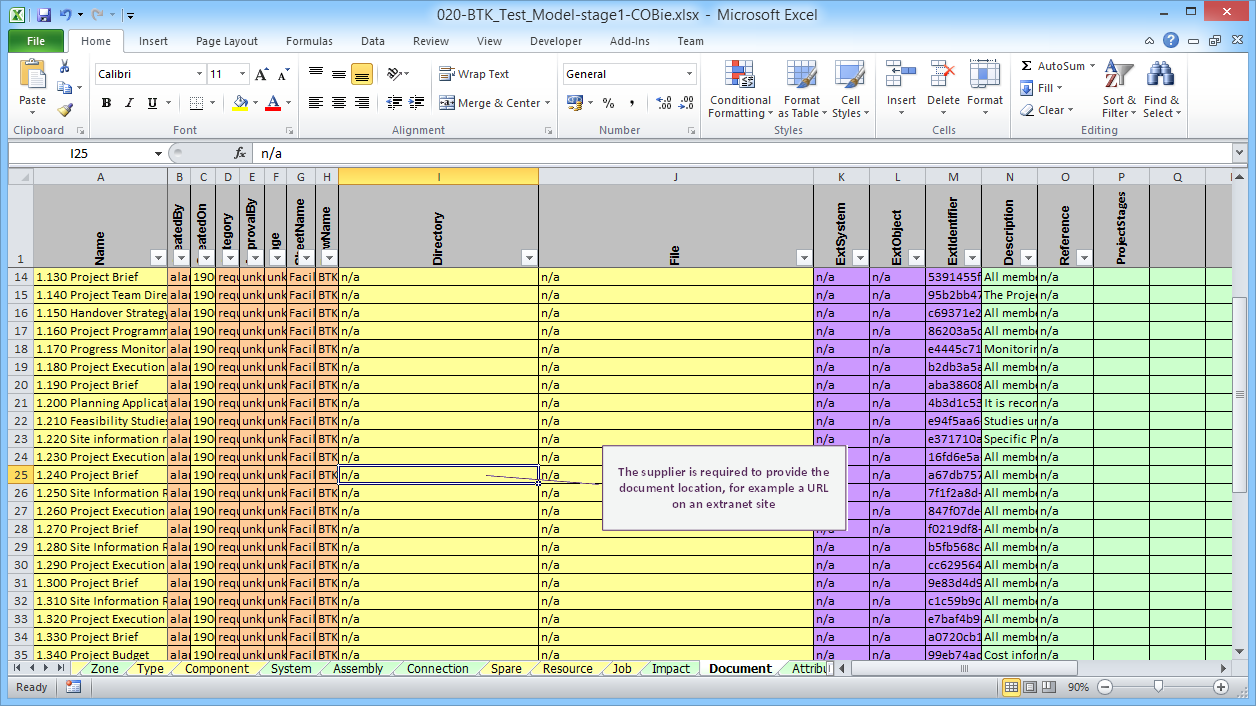 Document requirements exported by the BIM Toolkit - ready for the supplier to fill in